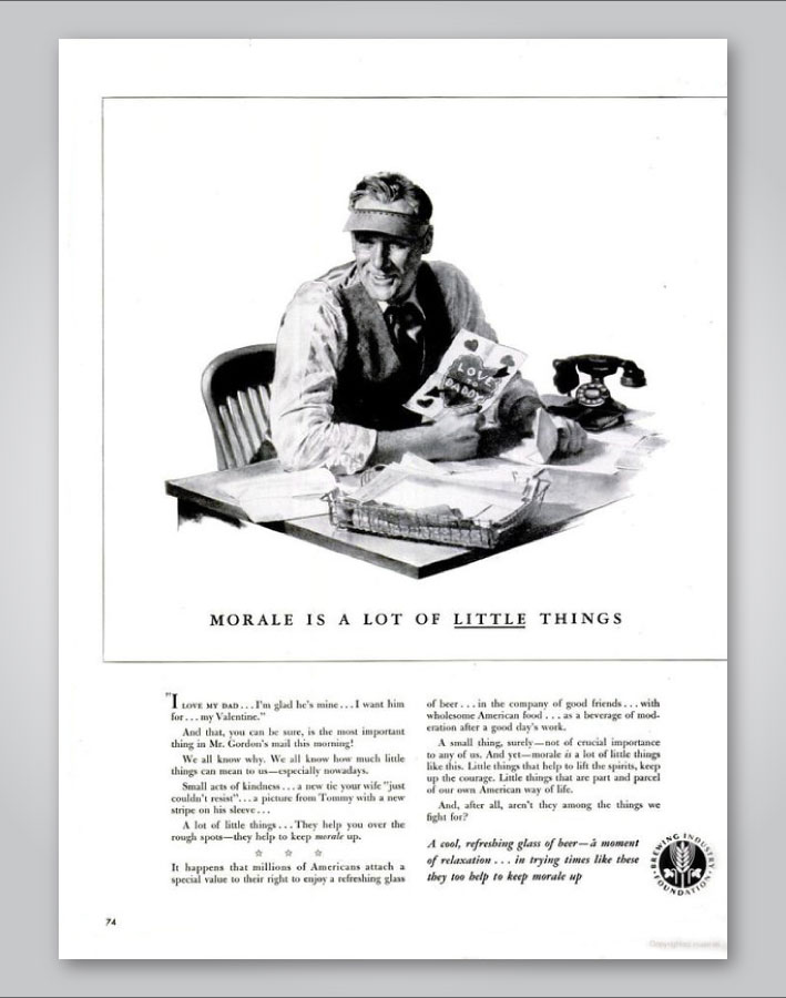 Image from the U.S. beer industry's wartime campaign